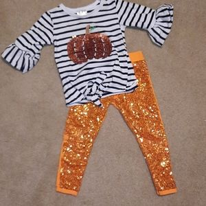 Pumpkin outfit with sequin pants